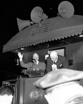 Image of Truman Speaking During Whistle Stop Campaign at Burlingame Southern Pacifi
