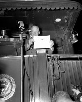 Image of Truman Receives Certificate During Whistle Stop at Burlingame Southern Paci