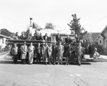Image of 2015.001.00356.2 - Burlingame Fire Department Staff with New Fire Engine, 1948