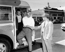 Image of San Francisco 49ers Football Players Boarding San Mateo-Burlingame Transit
