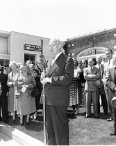 Image of 2015.001.00514.3 - Governor Earl Warren Speaking in Front of Burlingame City Hall, October 1949