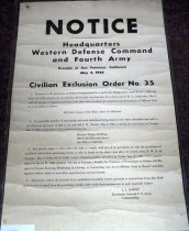 Image of Notice Civilian Exclusion Act No. 35- SMC Japanese Ancestry to report to Ma