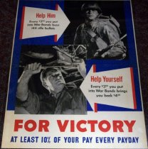 Image of 1982.154.003 - Help Him/Help Yourself War Bonds poster, c. 1942-1945. This poster was used to raise awareness in buying war bonds during WWII. Dimensions: 22 x 16.5