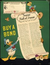 Image of 1982.168.001A - Junior Roll of Honor Bond poster with Disney characters, 1944. This poster has a list of names from San Mateo County who bought war bonds as an effort in WWII. Poster was created by Walt Disney.  Dimensions: 22 x 17.