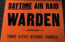 Image of 1982.193.007 - Daytime Air Warden 3 Cities Poster, c. 1942-1945. This poster was used to recognize and promote the air raid wardens who protect the streets and cities during WWII. Dimensions: 11 x 14.
