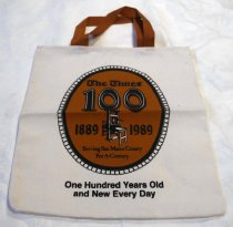 Image of San Mateo Times Anniversary Tote Bag, 1989