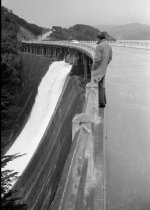 Image of Top of Overflowing Crystal Springs Dam on Skyline Drive in San Mateo, Looki