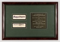 Image of Commemorative Plaque between the Raychem Corporation and Pacific Bell, Marc