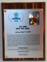 "Image of 2017.010.005 - Ray Looze Sports Hall of Fame Plaque, 2017. Rectangular brushed metal plaque attached to laminate wood grain board with copper colored brads.  Hole drilled in top center of wood portion. Peninsula Sports logo in upper left corner of metal portion - green trophy cup surrounded by blue stars - ""2017 Peninsula Sports Hall of Fame."" 