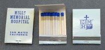 Image of Mills Memorial Hospital Matchbook, c. 1964-1966