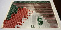 "Image of 2017.022.001 - ""West Coast Venture Capital - 25 Years"" poster, 1983. A white big poster with green, red, and gray in the background with white stripes all around. At the top of the poster, in gray and bold, the text reads ""WEST COAST VENTURE CAPITAL -25 YEARS"". On each side of the text at the top, in gray and bold, the text reads ""1958....1983"", in which it lists all of the years in between 1958-1983. In between each of these stripes is a name of company, person or major companies/people that were part of the venture business in the west coast in California. The list of names and companies are in the far top left hand side to the far bottom left hand side and then moves towards the middle are in small lettering with white text. 
