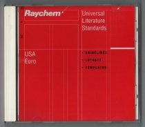 "Image of 2016.015.003.19 - Raychem Corporation Universal Literature Standards, 1998. Universal Literature Standards software CD-ROM contains a style guide produced by the Raychem Corporation for publications in the United States and Europe. Content on the disc includes guidelines, layouts, and templates. Text printed on the back of the CD-ROM cover notes, ""The Raychem Universal Literature Program has been created to unify and strengthen the visual impact of our marketing literature worldwide. Benefits of this program range from reinforcing a consistent identify worldwide, to sharing materials between divisions, to the economic efficiencies of maintaining a single literature system…QuarkXpress 3.32 for Macintosh and PhotoShop 4.0 for Macintosh are required for full operation of this CD-ROM."" The disc covers and case show white and black text on a red background. The front cover and disc also include white fine line graphics. Text on the front cover and the disc reads, ""Raychem  /  Universal Literature Standards  /  USA  /  Euro  /  *GUIDELINES  /  *LAYOUTS  /  *TEMPLATES."" Text on the back cover at lower left reads, ""Raychem  /  300 Constitution Drive  /  Menlo Park, CA 94025-1164  /  www.raychem.com"" and along the right side, ""©1998 Raychem Corporation Printed in USA (3870) H56501 11/98."""