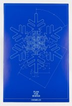 "Image of 2016.015.005.238 - Raychem Corporation Chemelex Poster, c. 1970s-1990s. Poster produced by Raychem Corporation to promote its Chemelex product line. The poster has a light blue technical illustration of a snowflake on a dark blue background. The poster has a light blue single-line border that has a slightly larger lower margin between the border and the poster's edge. Text printed at bottom center within the border reads, ""PLAN   /  FOR  /  WINTER."" ""CHEMELEX"" is printed below the border in the same location."