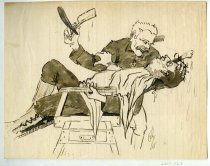 Image of 2017.052.007 - Sketch by Alvin Page Colby, 1918. Pen and ink on vertically lined off-white paper, with some pencil sketching visible underneath. The sketch depicts two men, one leaning back in a barber's chair and wearing a white apron over his uniform. The lower half of his face is covered in shaving lather. The second man leans over him, one hand holding his client's head as well as a shaving lather brush; his other hand is raised and holds a large open straight razor. He has a comb tucked behind his ear and a somewhat crazed look on his face.