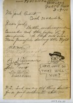 "Image of 2017.052.033 - Sketch and letter by Alvin Page Colby, 1918. A letter to a ""Mr Jack S[illegible], Cook 364 Amb. Co."" from ""the underground commander"" requests nine sandwiches to keep the men ""peaceful during the night."" It is signed by seven men and includes a sketch by Colby of a man in a hat and glasses saying ""HEY! JOHN DO THAT WILL YUH?"" A P.S. reads ""Send us any old thing decent for a good soldier to eat."""