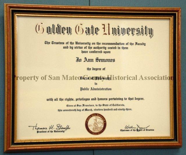 JoAnn Semones Framed Ph D Degree 1993 JoAnn