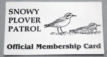 Image of 2017.008.037G - Snowy Plover Patrol Membership Card, c. 2001-2016. White card the size and thickness of a business card. On the front is a black illustration pf two Snowy Plovers; both are facing right, the one one on the right is sitting while the one on the left is standing. On the back of the card is a list of Plover patrolling techniques turning the word Plover into an acronym.