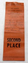 "Image of 2017.008.043.23 - LA City School District Award Ribbon, 1956. Rectangular orange-brown paper ribbon issued to JoAnn Semones by Lorne St. School for placing second in the baseball throw event. The name, date, event, and school are all handwritten in pen in cursive, while the rest of the text on the ribbon is printed. At the very top is handwritten ""5th Grade Girls"". There are two holes at the top as though from a safety pin."