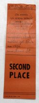 """Image of 2017.008.043.24 - LA City School District Award Ribbon, 1956. Rectangular orange-brown paper ribbon issued to JoAnn Semones by Lorne St. School for placing second in the 220 yard run. The name, date, event, and school are all handwritten in pen in cursive, while the rest of the text on the ribbon is printed. At the very top is handwritten """"5th Grade Girls"""". There are two holes at the top as though from a safety pin."""