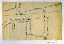 Image of 2017.052.047 - Map by Alvin Page Colby, c. 1917-1918. Hand-drawn road map gives directions to a country club in the vicinity of Camp Lewis. A highway runs horizontally along the top of the page, with two horizontal rail lines drawn underneath it. Below those are some County Roads and Private Roads with a handful of rail stations and landmarks labeled.
