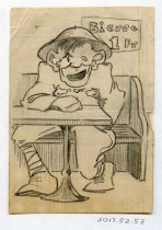 """Image of 2017.052.053 - Sketch by Alvin Page Colby, c. 1918-1919. Pencil on off-white lined paper sketch depicts a man sitting on a bench behind a table. He smiles and winks, and wears a uniform and a rounded, wide hat. One hand rests on the table. Behind him, a sign reads """"Biere 1 Fr."""""""