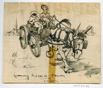 """Image of 2017.052.066 - Coming Home from Town, c. 1917-1919. Pen on lined off-white paper sketch depicts two men in a horse-drawn car. The horse, in the foreground, wears blinders and droops tiredly. Both men in the car are in uniform; the driver on the right has his nose in the air, and the man on the left wears a cap and smokes a cigarette. In the distance behind them are a few houses and a church with a spire. The caption at the bottom reads """"Coming home from Town---""""."""