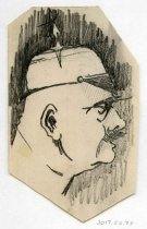 Image of 2017.052.073 - Sketch by Alvin Page Colby, c. 1918-1919. Pencil on off-white paper sketch depicts a man's face in profile. He is bald and has a distinct chin and a mustache. He wears a round helmet with a spiky thing sticking up from the top. There is heavy shading behind him and the paper has been cut to frame him.