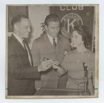 Image of 2017.054.002.1 - Untitled [Shirley Temple Black with members from Kiwanis Club San Mateo], October 6, 1967