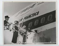 Image of 2017.054.002.11 - Untitled [Shirley Temple Black christening a Trans World Airlines plane], April 7, 1970