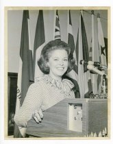 Image of 2017.054.002.30 - Untitled [Shirley Temple Black in front of a podium], June 30, 1972