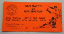 Image of 1978.319.036 - Admission Ticket, 1977. Red-orange paper ticket number 4575 for the 50th annual San Mateo vs Burlingame football game, held as part of San Mateo High School's 75th anniversary reunion. The game was held Thanksgiving Day, November 24 1977, at 11 AM.