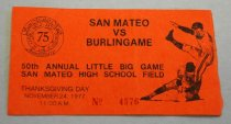 Image of 1978.319.036A - Admission Ticket, 1977. Red-orange paper ticket number 4576 for the 50th annual San Mateo vs Burlingame football game, held as part of San Mateo High School's 75th anniversary reunion. The game was held Thanksgiving Day, November 24 1977, at 11 AM.