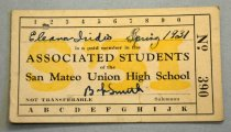 """Image of 1978.319.039B - Associated Students Membership Card, 1931. Off-white paper card number 390 stating that Eleanor Iridio is a paid member of the San Mateo High School Associated Students for spring semester 1931. It is signed by Iridio and a B. Smith """"Salesman"""" in blue pen. In yellow behind the printed text is """"S'31"""". Across the top are the numbers 1 through 9 and a 0; there is a hole punched between the 1 and the 2. Across the bottom are the letters A through K."""
