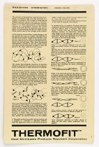 """Image of 2016.015.005.233 - Raychem Corporation Cross-Linking Display Board, c. 1957-1999. Beige plastic board produced by the Raychem Corporation contains text and graphics in black ink thaat explain the process of cross-linking polymers. """"Thermofit  /  Heat Shrinkable Products"""" is printed at the top. 12.5"""" x 8.125"""""""