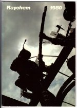 """Image of 2018.003.001 - Raychem 1980 [Annual Report]. Annual report produced by the Raychem Corporation for fiscal year 1980. The cover features a color photograph of two linemen in silhouette against a cloudy sky working on electrical cable. The report is 42 pages with an adhesive binding. 11"""" x 7.75"""" x 0.375""""  For other copies of Raychem Annual Reports, see document groups 2016.015.005.1-.3"""