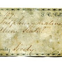 Image of Historic specimen label for Sulfur, 0144.