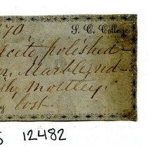 Image of Historic specimen label for Marble, 12482.