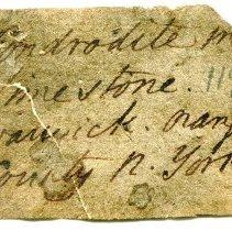 Image of Historic specimen label for Chondrodite, 1584.
