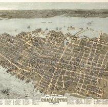 Image of Bird's Eye View of the City of Charleston, South Carolina 1872 - Map