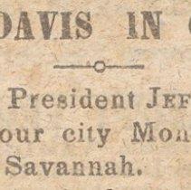 Image of Newspaper Article:  President Davis in Charleston - Article