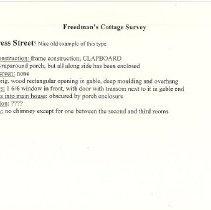Image of Freedman's Cottage Architectural Survey - Card, Index