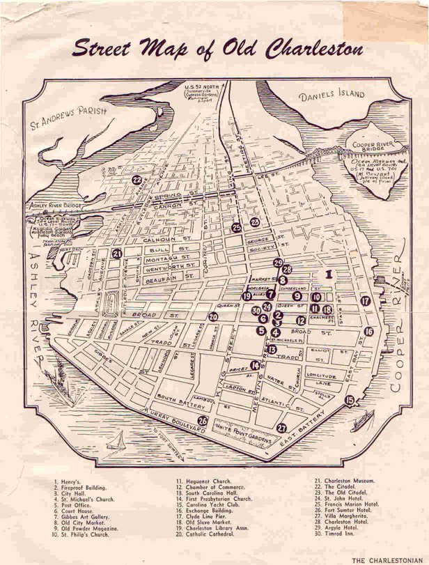 Street Map of Old Charleston - Map on