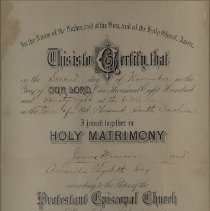 Image of Certificate of Holy Matrimony of James Missroon and Amanda Elizabeth Dix - Certificate, Marriage