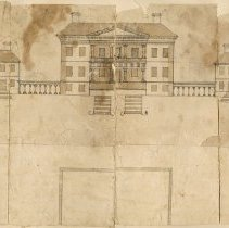 Image of Pen and Ink Drawing of Drayton Hall:  Builder's Elevation - Drawing, Architectural