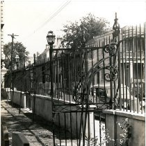 Image of First Baptist Church Yard and Gate - ca. 1930s