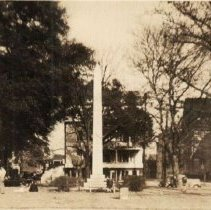 Image of Wade Hampton Monument (and 334 Meeting Street) - ca. 1940s