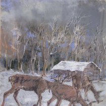 Image of 2006.38.40 - UNTITLED (DEER AND CABIN)