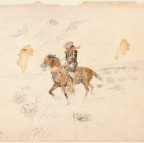 Image of 1980.46.01 MAN RIDING HORSE IIN SNOWSTORM