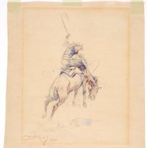 Image of 1998.106.04 - UNTITLED (COWBOY ON BUCKING BRONC / SKETCH OF JOHN TREACY)