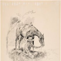 Image of X1952.01.18 - COWBOY SEATED, HORSE NUZZLING HIS LEFT HAND